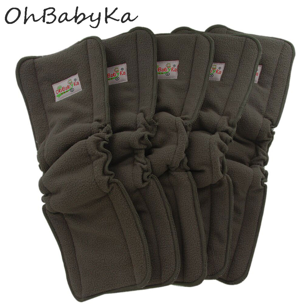 Ohbabyka Bamboo Charcoal Diaper Elastic Inserts For Baby Nappies Reusable Washable Cloth Diaper Insert Fraldas De Pano 5pcs/Pack