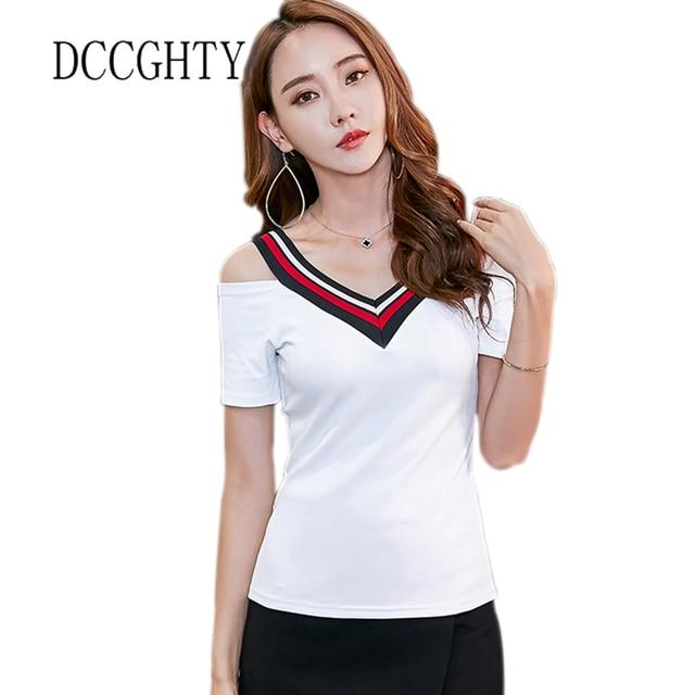 db4fa114e05d6 2018 Sexy Low-cut V-neck Tee Shirt Femme Cotton Strapless Slim Women Tops  Summer Short-sleeved T-shirt Pure White Tshirt Female