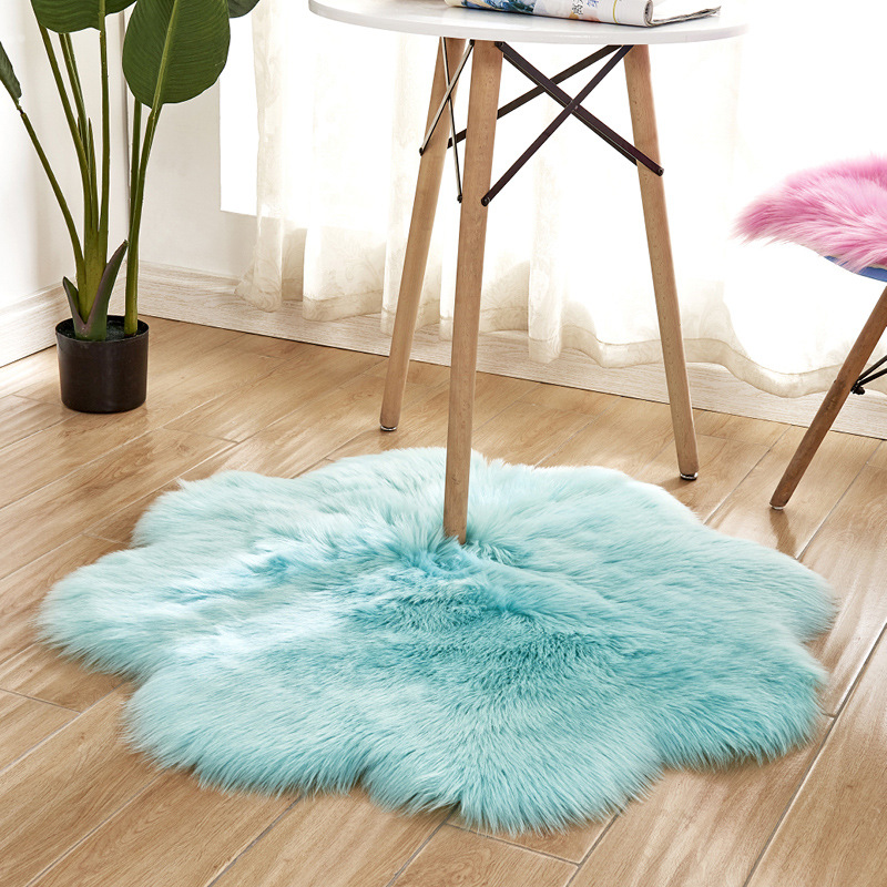 OHEART forme florale laine artificielle peau de mouton tapis poilu Faux tapis coussin de siège fourrure chaude Tapetes tapis de sol tapis de zone douce 90CM