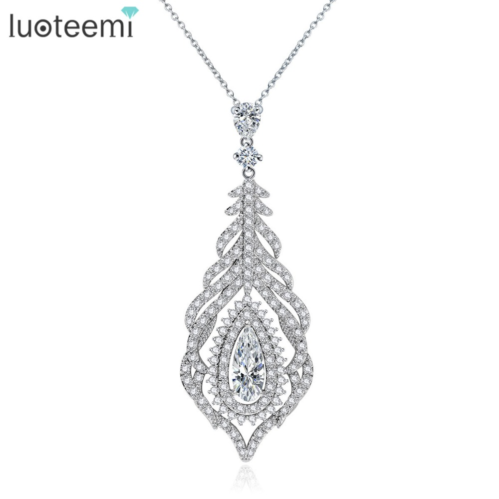 LUOTEEMI Brand New Luxury Cubic Zircon Micro Setting Feather Design font b Pendant b font font