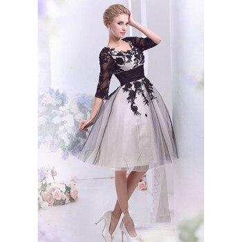 cba76ed85bd8 Vestido de novia corto negro vestido de novia vestido de tul corto de encaje  con apliques