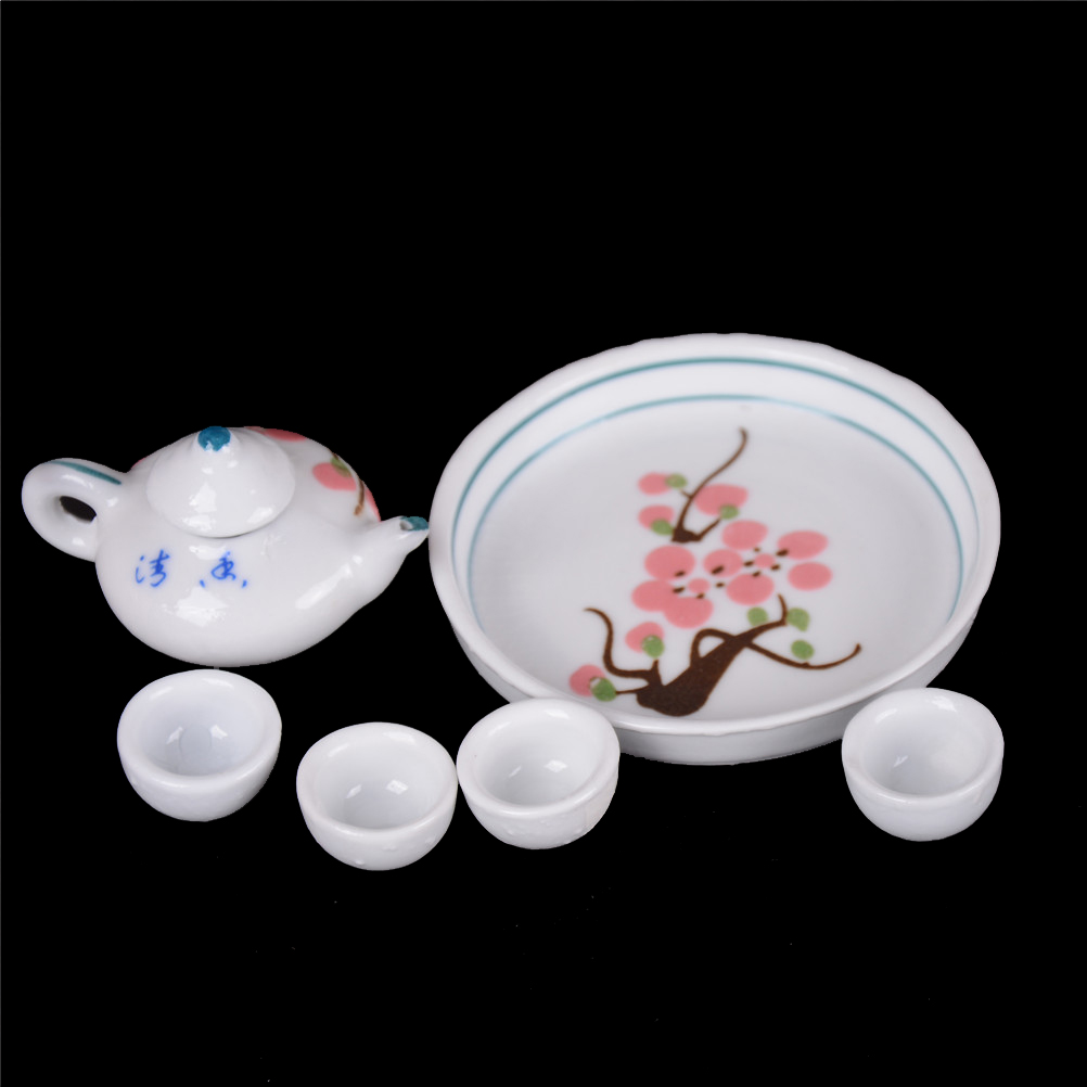 Dolls & Stuffed Toys 6pcs/set Dollhouse Miniature Flower Style Dining Ware Porcelain Tea Set Dish Cup Plate Flowers Dolls Accesssories 2019 Official