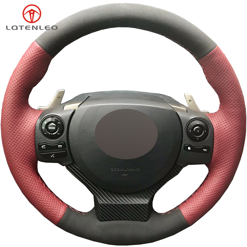 LQTENLEO Black Suede Wine Red Leather Car Steering Wheel Cover For Lexus CT200 IS200t IS250 IS300