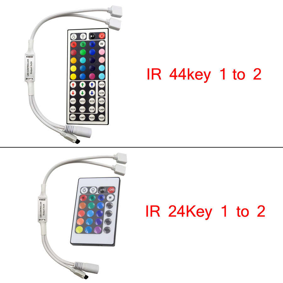 Sterownik Led 44 klawisze 24 klawisze LED IR kontroler RGB światła LED Mini kontroler pilot zdalnego sterowania na podczerwień ściemniacz DC12V dla 3528 lub 5050 RGB taśmy