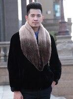 YCFUR Brand Design Men's Scarves Wraps Winter Warm Knit Genuine Mink Fur Neck Warmer Scarf Men Warm Winter Ring Scarf Male