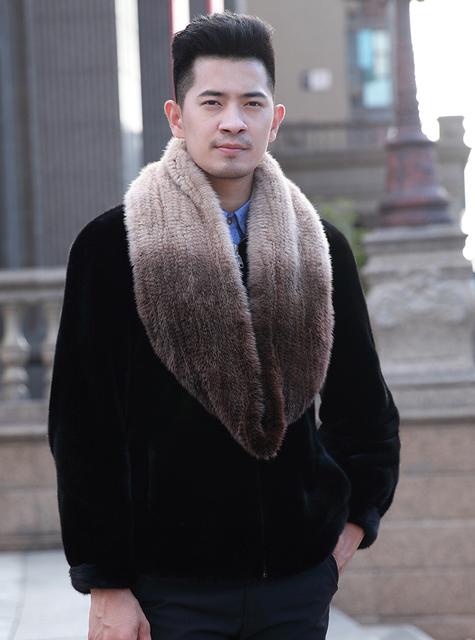 YCFUR Marca hombres del Diseño Bufandas Calientes del Invierno de Punto Bufanda de Piel de Visón Genuino de Los Hombres Warm Winter Fur Wraps Bufandas de Visón
