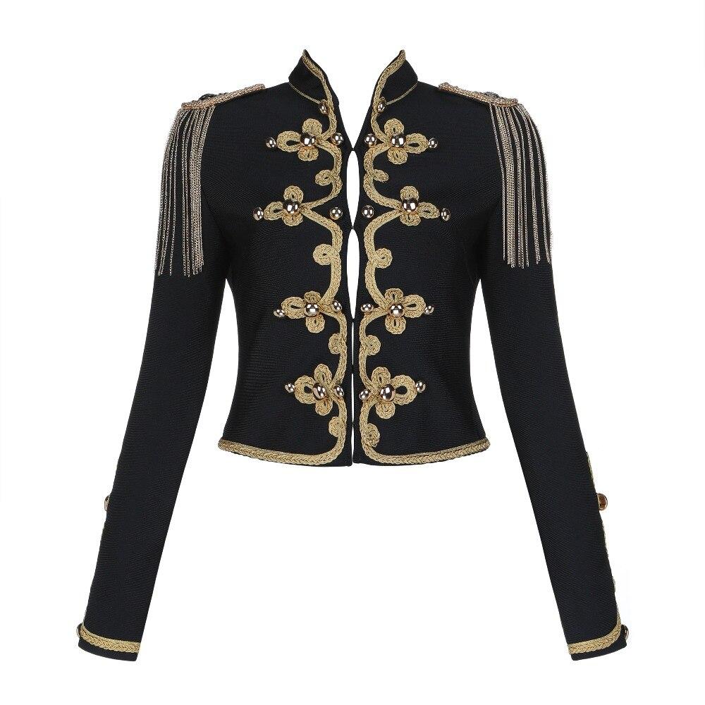 Rayonne De Militaire Court Longues Manches Bandage Femmes 2019 Nouveau À Classique Veste Vestes Noir SgnRZ