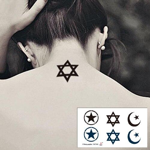 6565e842e Temporary tattoos neck back Gamino magic star moon circle makeup fake spray  transfer sexy tattoo stickers waterproof unisex