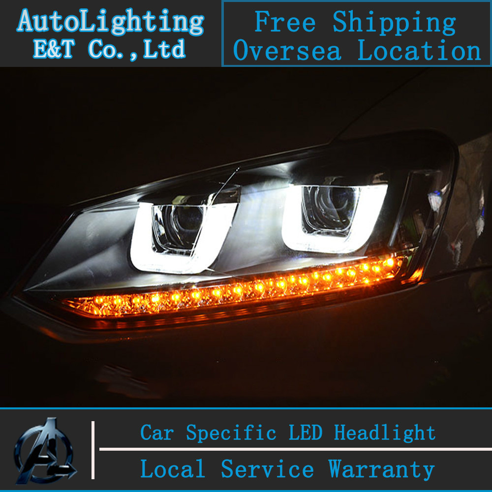 Car Styling VW POLO headlight assembly Volks Wagen POLO GTI LED Headlight Automobile angel eye led drl H7  with hid kit 2pcs. погружной блендер gorenje hb804qr
