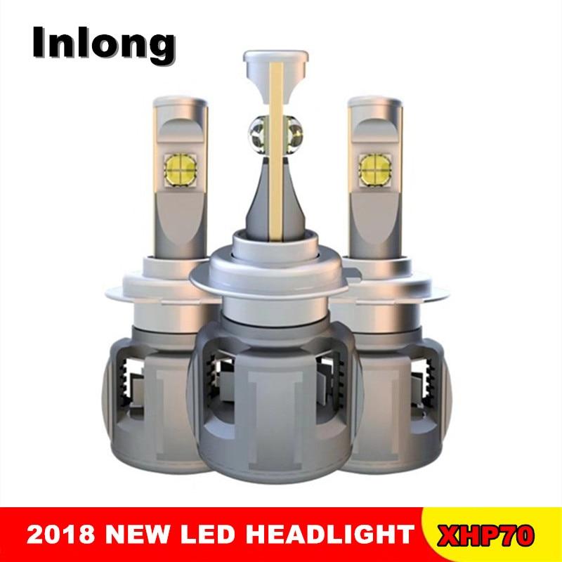 Inlong 2 шт. X70 H4 H7 автомобиля светодио дный лампы H11 H8 H1 9005 9006 HB4 H9 D4S XHP70 чипы 120 Вт 15600LM фары противотуманные фонари 6000 К
