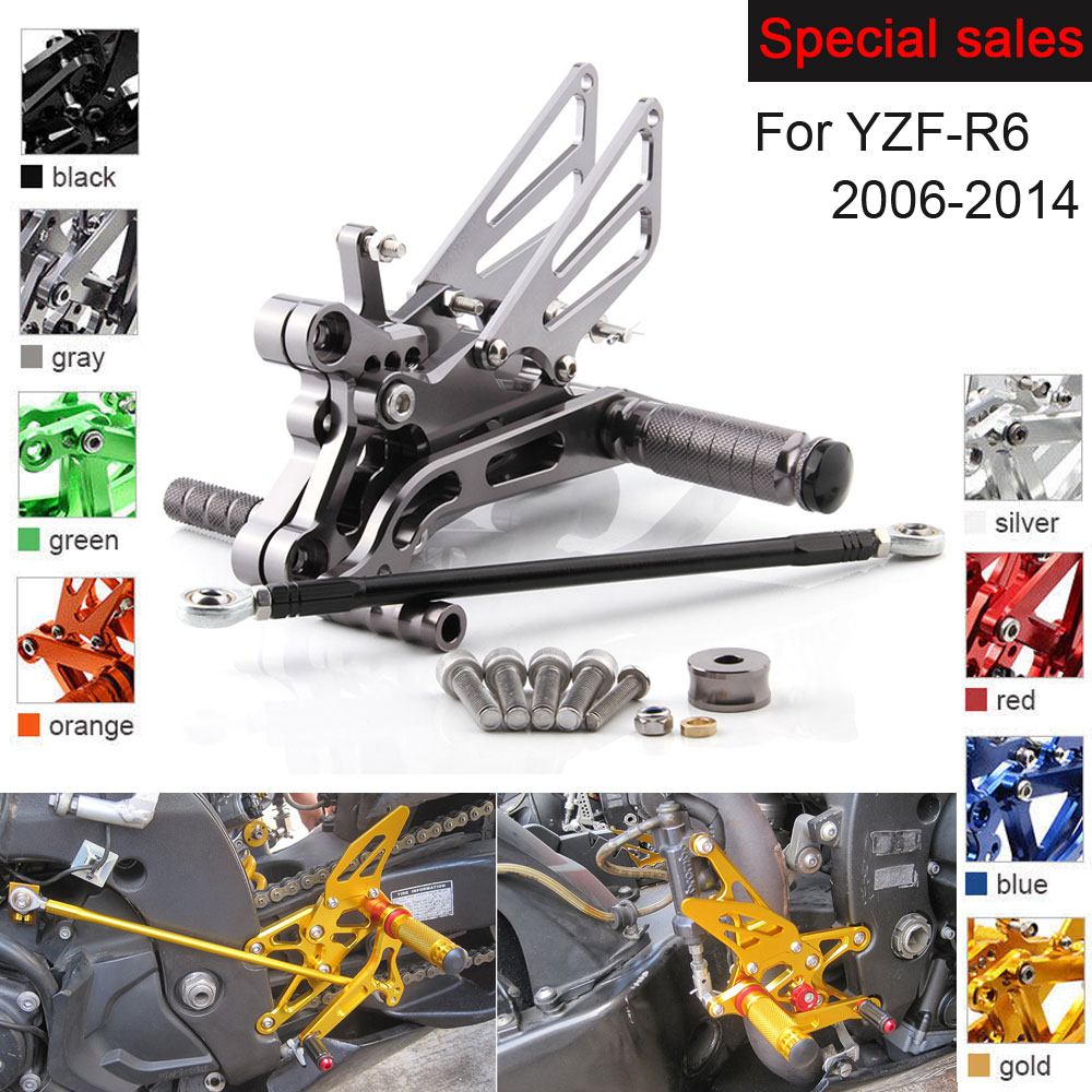 Motorcycle Rear Set Accessories For Yamaha YZF R6 2006 2014 CNC Adjustable Rearset Foot Pegs YZF R6 Foot Rests Footpegs in Foot Rests from Automobiles Motorcycles