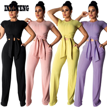 INMOTENG 2019 New Women Knitted Short Sleeve Tie Up Sweater Straight Long Pants Suits Two Piece Set Vintage Tracksuit Outfit XXL