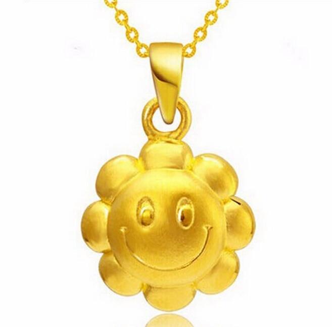 Hot sale fashion Best Gift 24K Yellow Gold Pendant / 3D Sunflower Smile Pendant 1.35g цены
