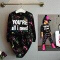 Девушки Печати письмо свитер топ и брюки 2 шт. набор с длинными рукавами Дети одежды девушки хлопок брюки Моды нью-Спорт костюм