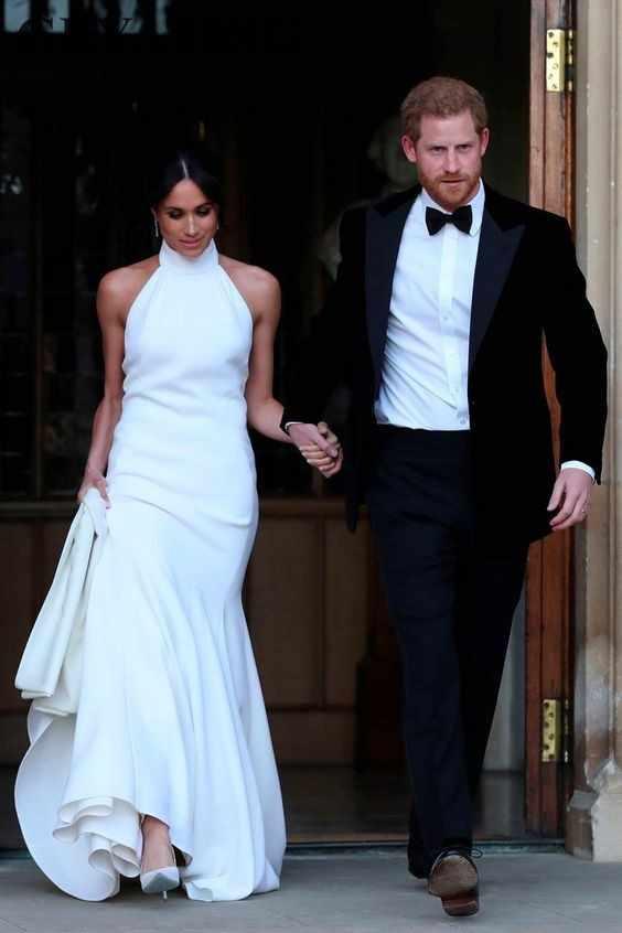 Royal White Satin Mermaid Wedding Dresses 2020 Prince Harry Meghan