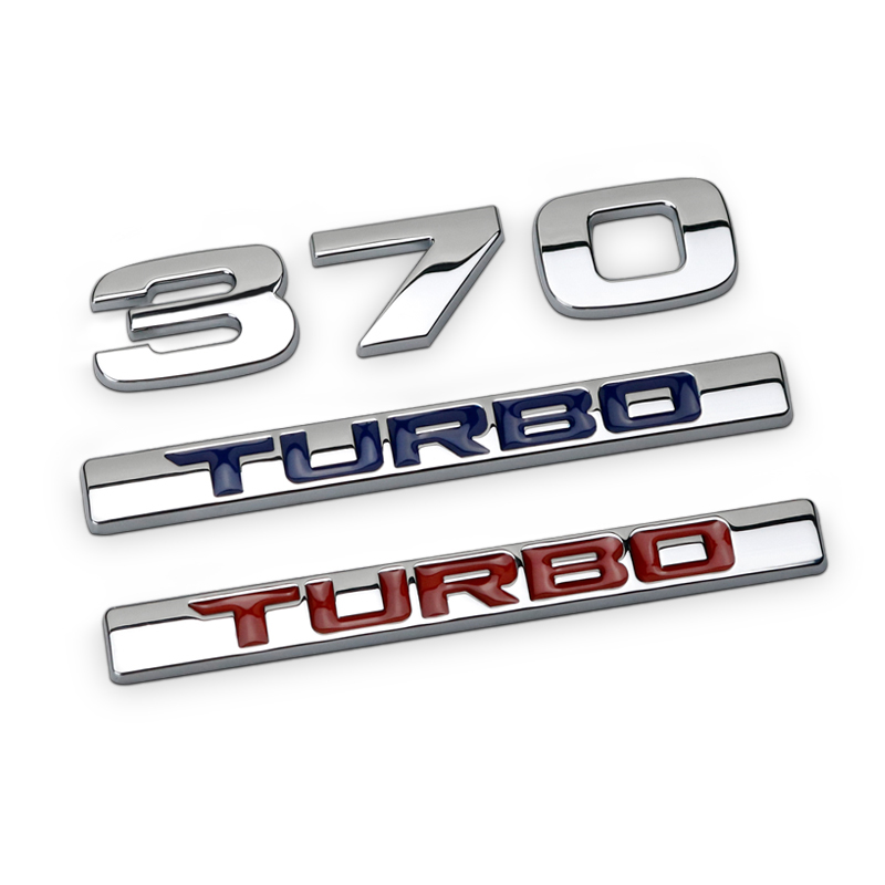 1Pcs 3D Metal 370 TURBO Car Side Fender Rear Trunk Emblem Badge Sticker Decals for Honda Nanae,car accessories decorations