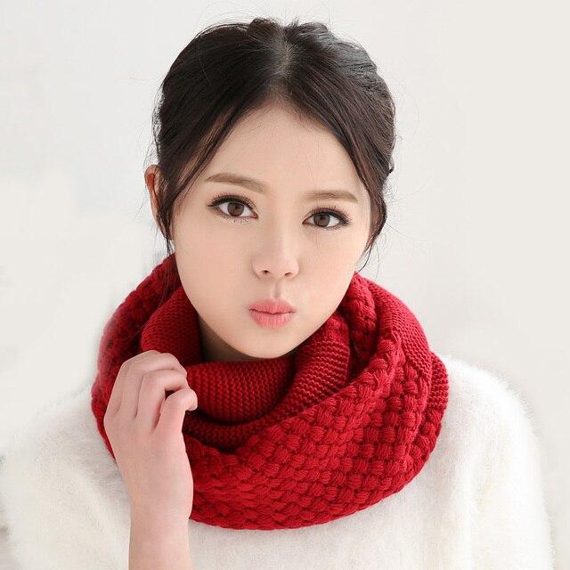 вязаный шарф женщин мода чистый шеи шерстяной шарф осень зима шарф