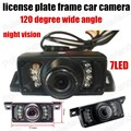 Waterproof short License Plate Frame Car Rear View Camera reverse 7 LED infrared night vision 120 degree wide angle