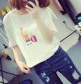 Designer coreano marca Simpson impressão de algodão de manga curta de verão Camisetas Femininas