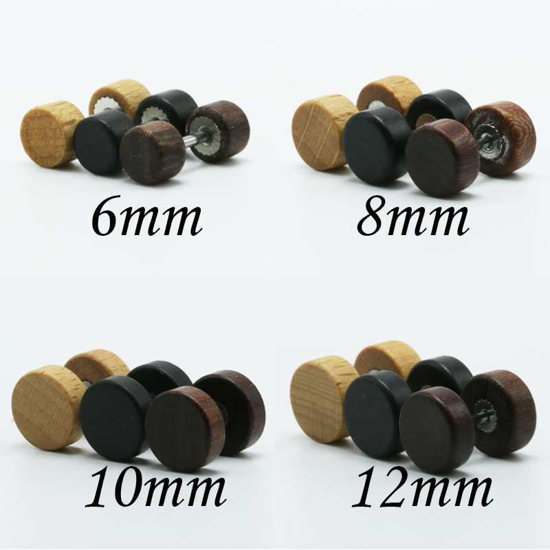 1pair Fashion Wooden Ear Studs Earrings Natural Brown Black 6mm 8mm 10mm 12mm Punk Barbell Fake Ear Plugs Brincos For Men Women3