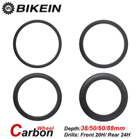 BIKEIN Ultralight Racing 700C Clincher Tubular 3k Carbon Road Bike Wheels 23mm Width 38 50 60