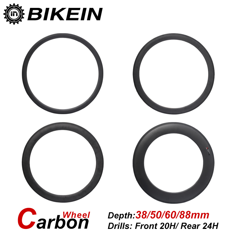 BIKEIN Ultralight Racing 700C Clincher Tubular 3k Carbon Road Bike Wheels 23mm Width 38/50/60/88mm Depth Cycling Bicycle Parts racing wheels h 480 7 0 r16 4x114 3 et40 0 d67 1