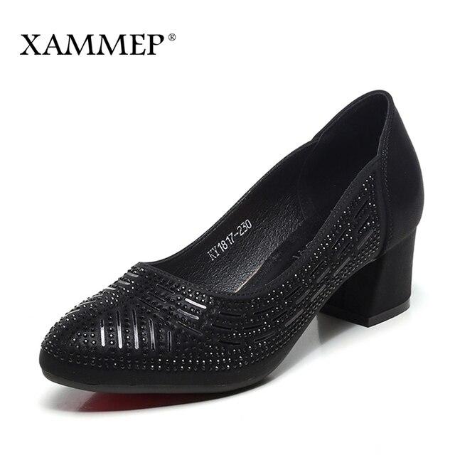 Женская обувь женские туфли-лодочки на платформе, на среднем каблуке, Брендовые женские модельные туфли, офисная обувь из спилковой кожи, весна-осень, большие размеры, Xammep