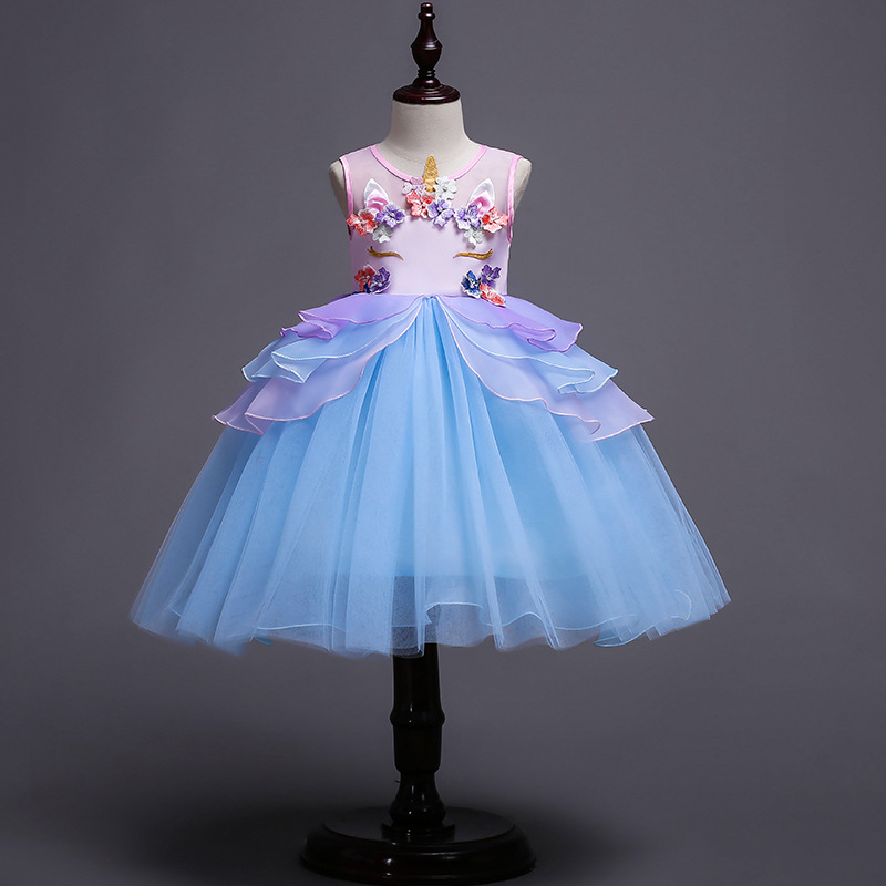 Fille enfants licorne robe mignon monstre princesse robes enfants noël fête robe 2018 Tutu scène Performance vêtements