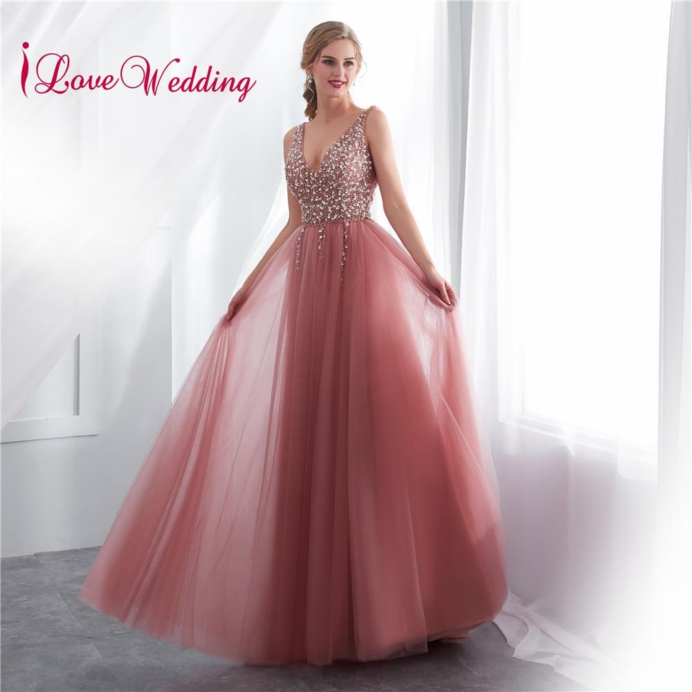 2019 Vestido de festa longo Sexy Long Evening Dresses Deep V Neck Backless Beads Crystal Party Gown Sleeveless Pink Evening