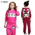V-TREE SPRING girls clothes sets Stereo ear costume for kids fashion girl clothing set children sport suit