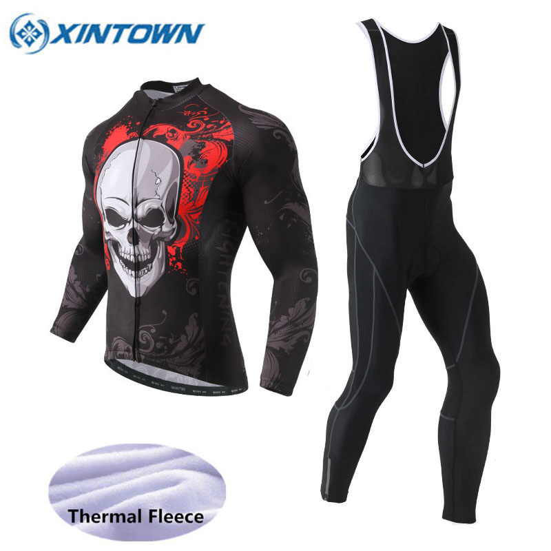 XINTOWN Skeleton Cycling Jersey Set 2018 Pro Team Long Sleeve Winter Thermal Fleece Men MTB Bike Clothing Bib Pants Sets 6 Style santic autumn winter women winter cycling set bicycle jacket padded pants pro team cycling clothing mtb bike long jersey set
