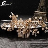 Silver Gold Leaf Bridal Hair Combs Rhinestone Wedding Hair Accessories Vinatge Bridal Headpiece Pearl Prom Hair