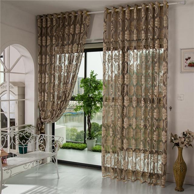 Cortinas para sala de estar comedor dormitorio coreano bordado cortina  hueco transparente cortinas románticas princesa señora tul
