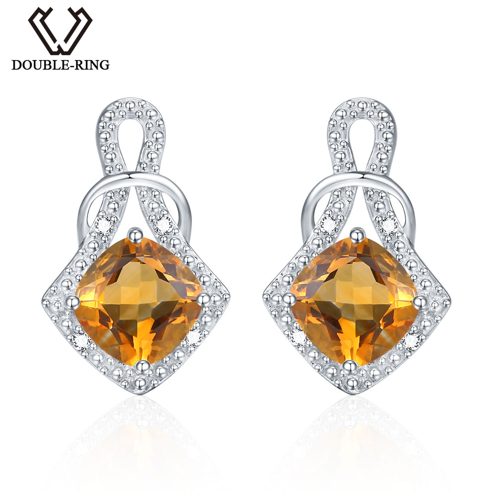 DOUBLE R 1.7ct Yellow Genuine Natural Citrine Drop Earrings Real 925 Sterling Silver Fine Dangle Earrings Jewelry For Women