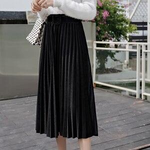 Image 2 - חצאיות נשים 2019 סתיו אמצע עגל אורך Faldas Mujer Moda אלסטיות גבוהה מותניים נהיגה לראשונה חצאית Femme Saia Midi מוצק נשי קפלים חצאית