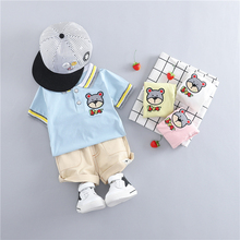 2019 Summer Baby Boys Girls Clothing Sets Kids Children Clothes Suits Lapel Bear T Shirt Shorts Infant Toddler Casual Suit bear leader kids clothes 2018 fashion sleeveless summer style baby girls shirt shorts belt 3pcs suit children clothing sets