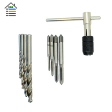 9pcs T-Handle HSS M2 Hand Taps Drill Bit Wrench Threading Tap Reamer M3-M6 Taps For general Wood Soft Metal Aluminum PCB