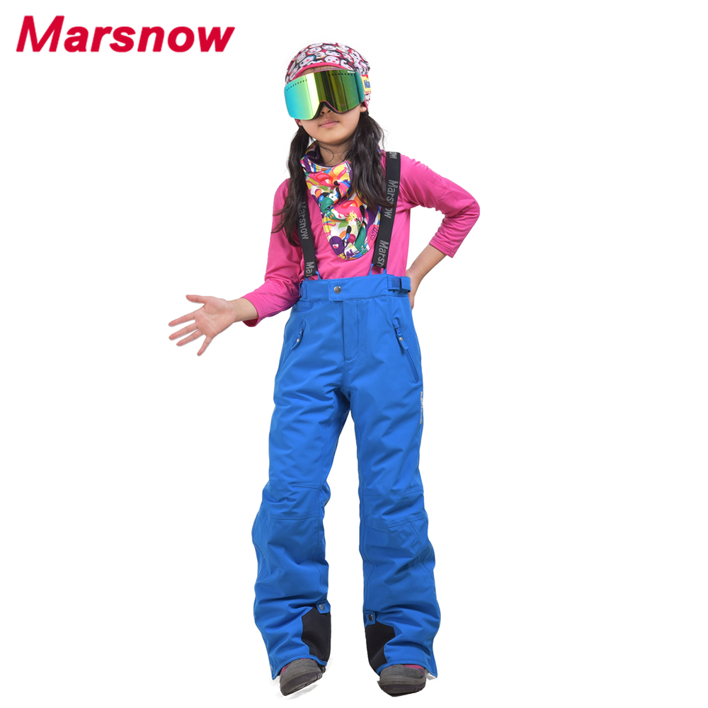 2017 Marsnow Children Skiing Pants Boys Girls Keep Warm Waterproof Ski Pants Kid Snow Trousers Thicken Child Jumpsuit CP1809
