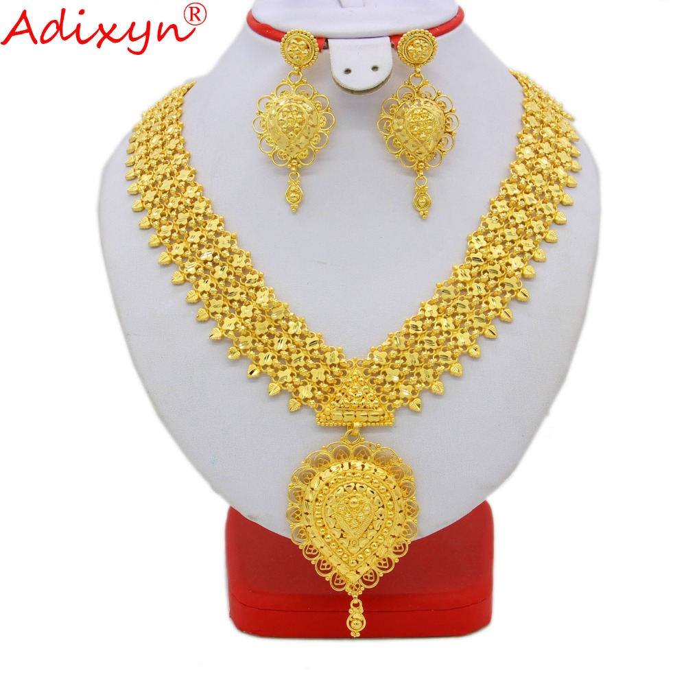 Adixyn India Long Necklace/Earrings Jewelry Set For Women/Girls Gold Color/Brass African/Ethiopian/Dubai Party Gifts N09277 adixyn dubai gold bangles fashion jewelry for women men gold color bangles bracelets african india middle east items free box