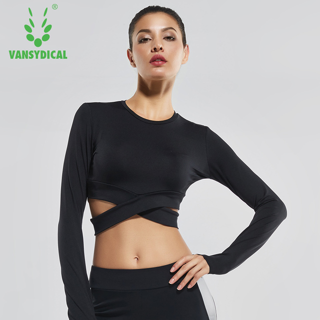 Women Sexy Exposed Navel Yoga Shirts Solid Running Tops Long Sleeve