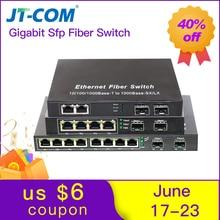 10 port Gigabit Ethernet Network Switch 1000M Media Converter 2 sfp slot fiber port and 2 4 8 rj45 port Fiber Optic Transceiver