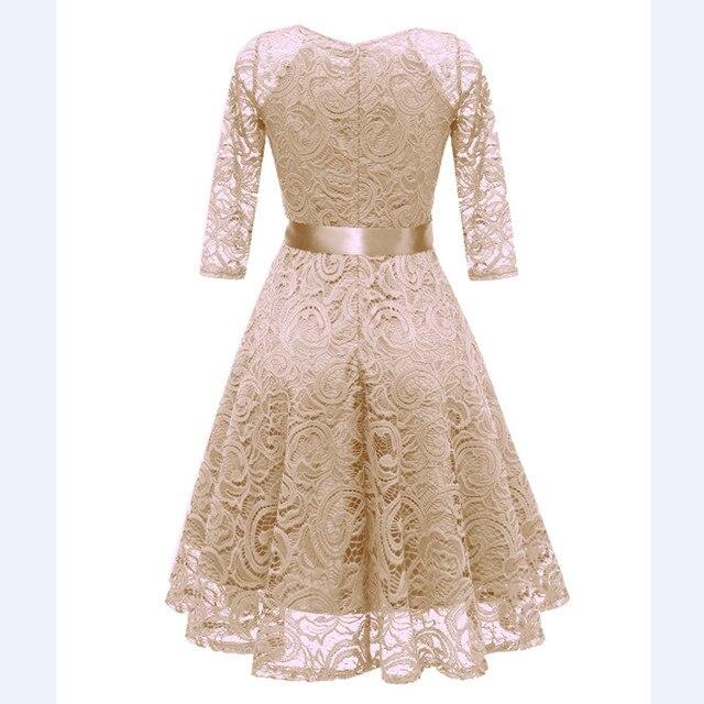 CD1592X#Beige V-neck Bow Lace Short Evening Dresses Classmate party dress prom bridal gown cheap wholesale women's clothing 3