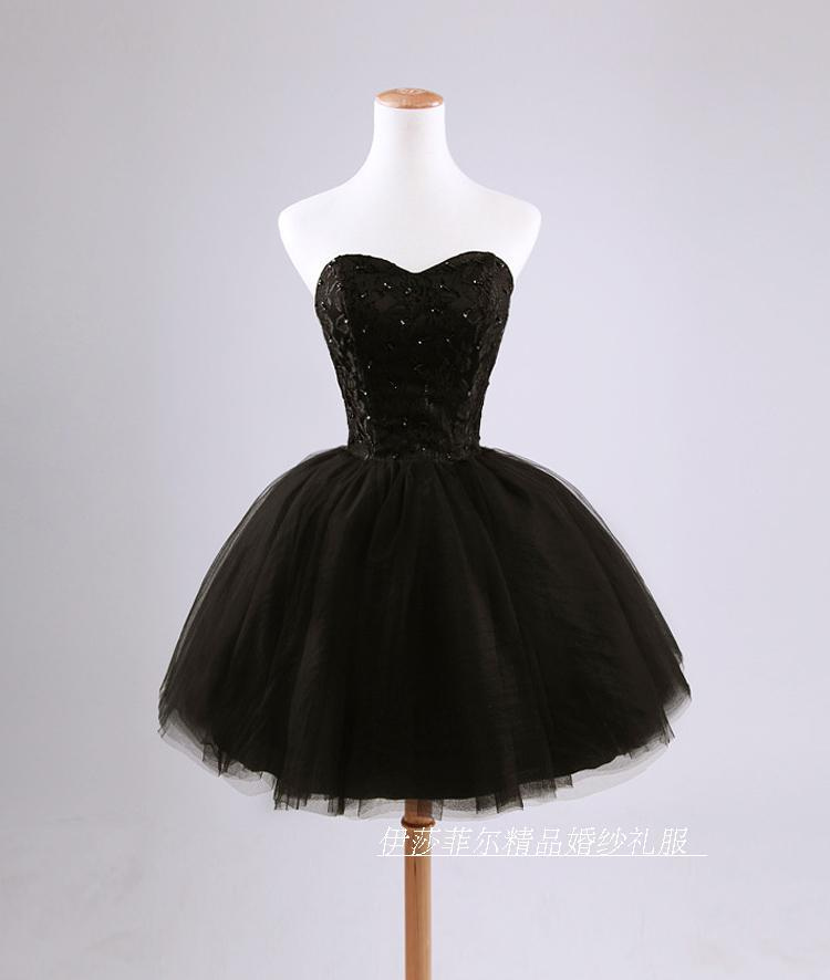 Sweetheart Black Applique Sequins Crystals   Cocktail     Dresses   Short Mini Organza Homecoming   Dresses   Lace Up Party Graduation Gown