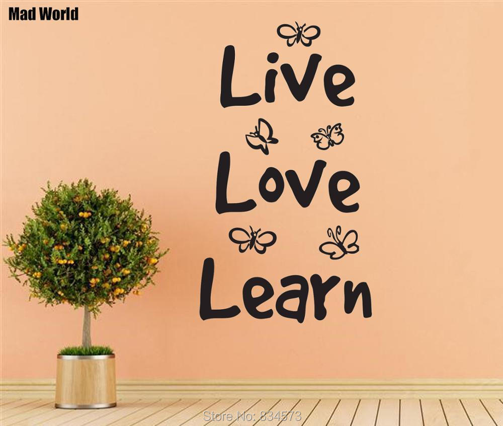 Mad World LIVE LOVE LEARN Butterfly Quote Wall Art Stickers Wall ...