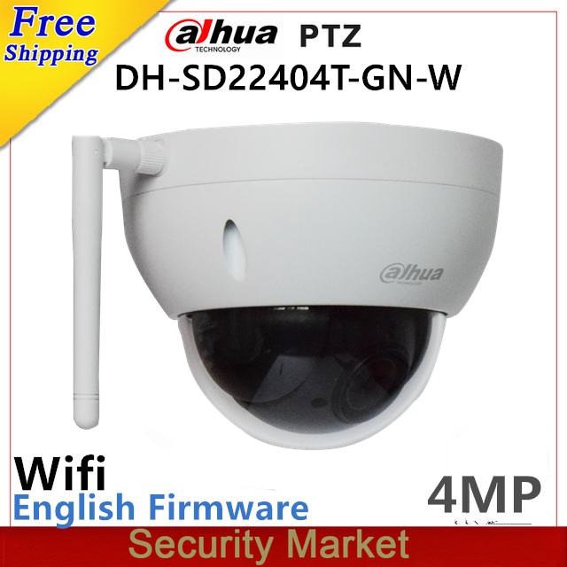 Original dahua english SD22404T GN W WiFI IP 4MP HD Network Mini PTZ Dome 4x optical zoom wireless IP CCTV Camera with logo-in Surveillance Cameras from Security & Protection
