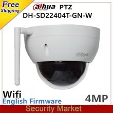 Originele dahua engels SD22404T GN W WiFI IP 4MP HD Netwerk Mini PTZ Dome 4x optische zoom draadloze IP CCTV Camera met logo