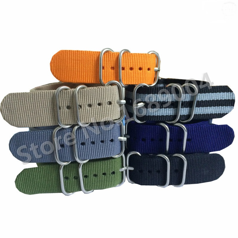 High Quality Nylon Zulu Watch Band Nato Strap With Stainless Steel Silver Buckles 16mm 18mm 20mm 22mm 24mm 14mm 16mm 17mm 18mm 19mm 20mm 21mm 22mm 23mm 24mm silver black full stainless steel watch strap wacthband for rarone with logo