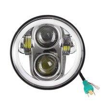 A LED per Harley Faro Kit 5.75 Pollici Rotonda Del Faro Del LED Ausiliario Lampade DRL di Alto e il Basso del Fascio per Harley Davidson moto Proiettore