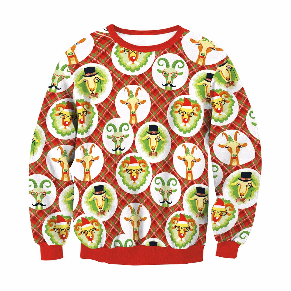 Kersttrui S.2019 Feelincolor New Christmas Sweater With Deer Men Santa Clus