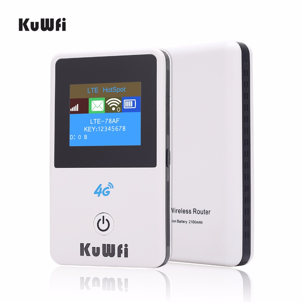 KuWFi 4G Roteador Sem Fio Desbloqueado 3G/4G FDD/TDD Router Wi-fi 4G Wi-fi Móvel hotsport Protable Roteador Wi-fi Com Slot Para Cartão Sim Do Carro